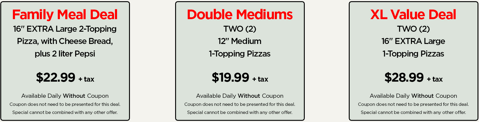Pizza Coupons and Specials - Cassini's Pizzeria